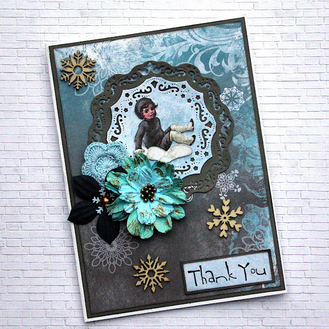 Thank You and Congratulation Cards by Ulrika Wandler using BoBunny Winter Playground and Only You Collection