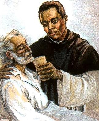 San Martín de Porres dando agua a un enfermo