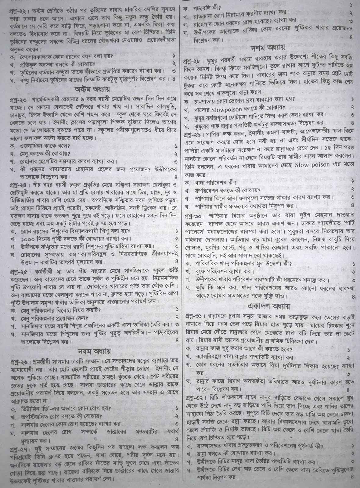 jsc Home Science suggestion, exam question paper, model question, mcq question, question pattern, preparation for dhaka board, all boards