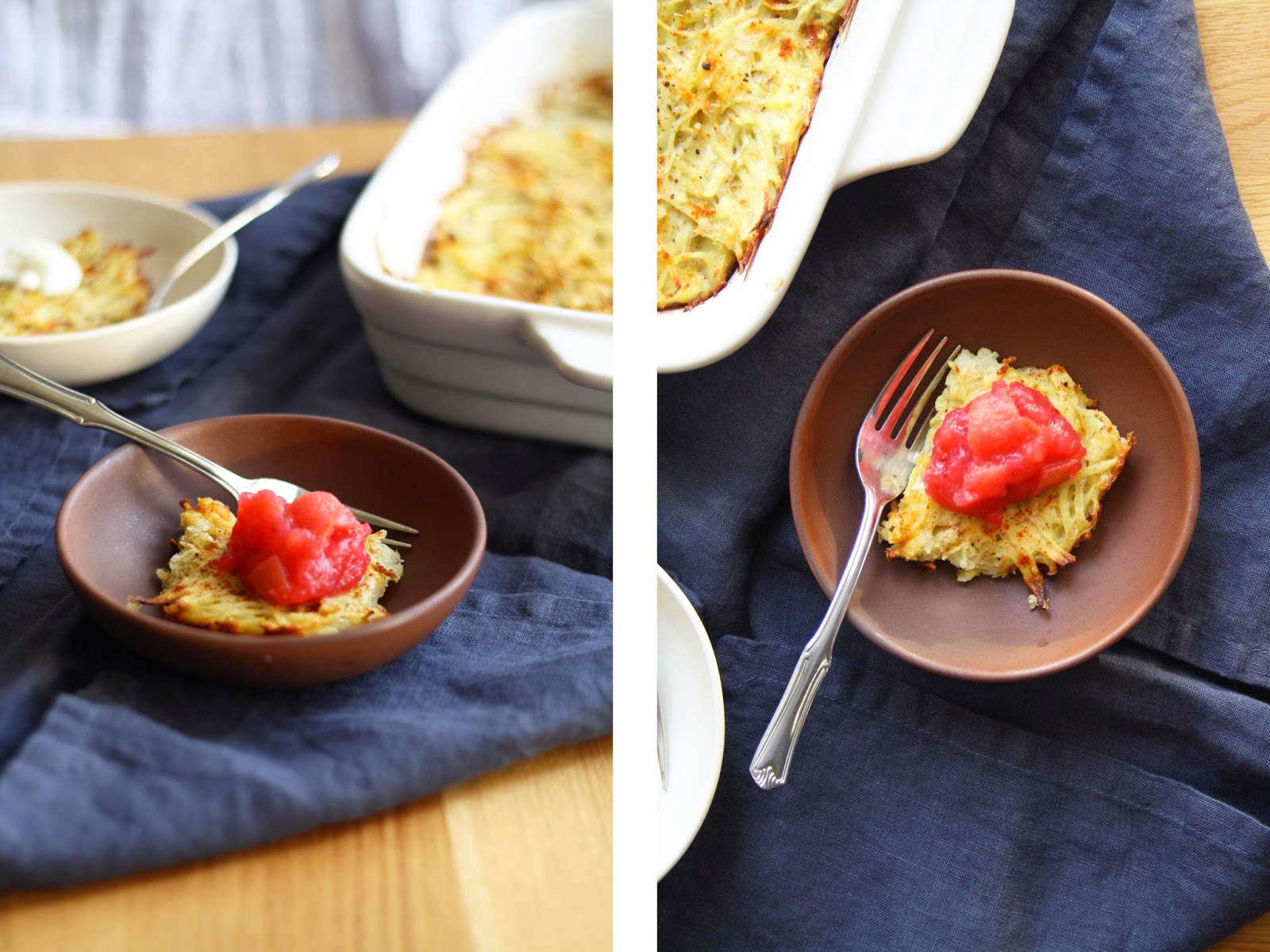 potato latke casserole (potato kugel) with cranberry applesauce // sevengrams
