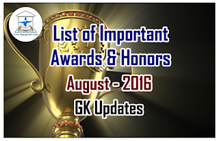 List of Important Awards and Honors- August 2016