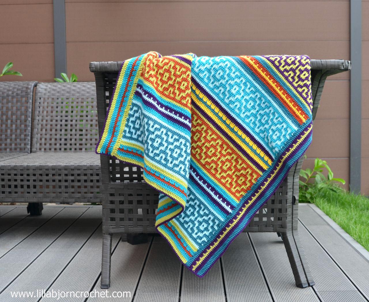Nya Mosaic Blanket - FREE crochet pattern by www.lillabjorncrochet.com