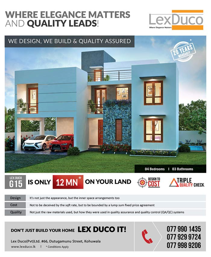 4 bedroom Lex Duco G 15 is only 12 Mn on your land