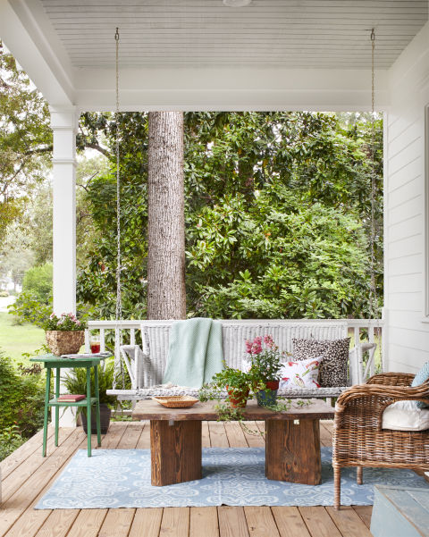 Beautiful vintage wicker porch swing and modern farmhouse style inspiration on Hello Lovely Studio