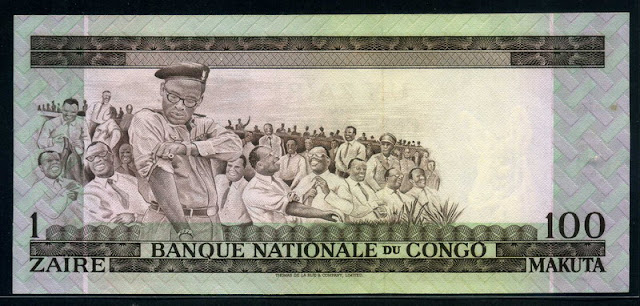 """African Paper money Banknotes Congo 1 Zaire = 100 Makuta 1970  Mobutu's """"time to work"""""""