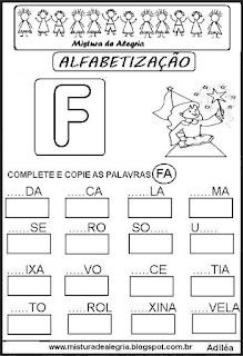 Atividades de alfabetização letra F