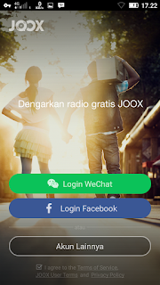 tampilan sign up joox