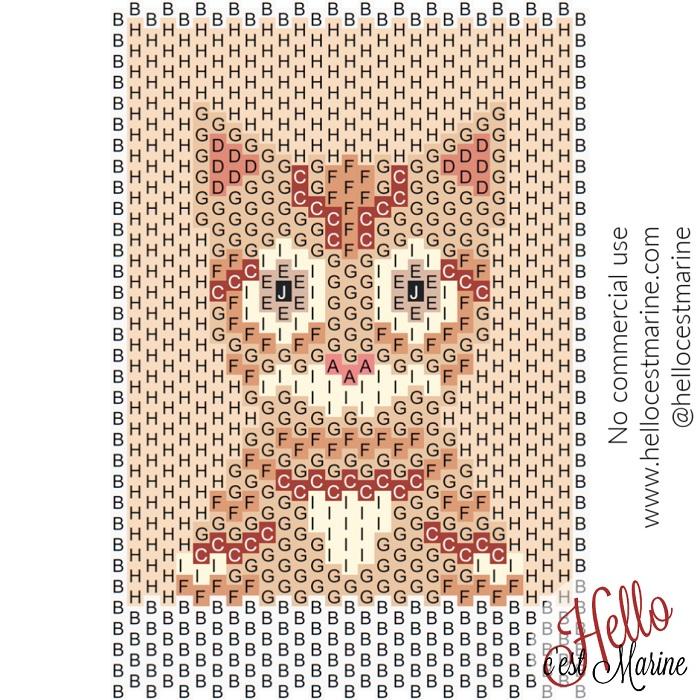 Diagramme du chat roux tigré à tisser avec des perles Miyuki delicas 11/0 par Hello c'est marine