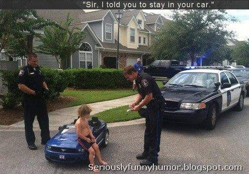Sir Kid, I told you to stay in your car! Funny hilarious photo