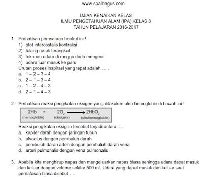 Download soal latihan UKK/ UAS IPA kls 8 kurikulum 2013 semester 2/ genap tahun 2017 plus kunci jawabannya www.soalbagus.com
