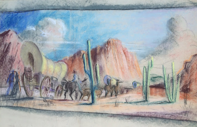 Francis Quirk Pastel of a Wagon Train