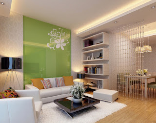 Desain Interior Ruang Tamu Warna Hijau Modern Semi Mewah Sederhana