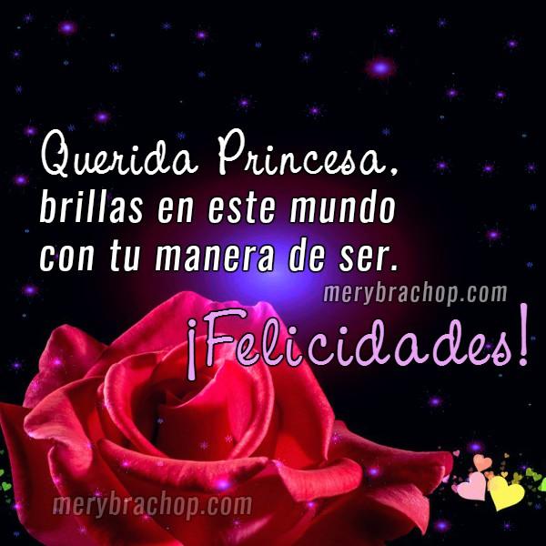 frases de felicitaciones a mi princesa mi hija con rosa roja en bonita tarjeta