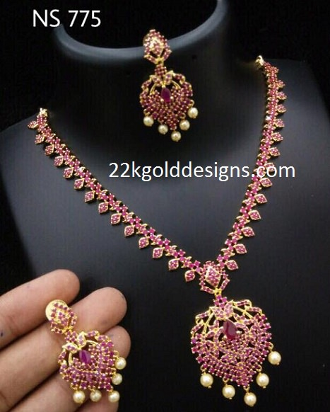 One gram gold necklace archives page 2 of 2 22kgolddesigns 1 gram gold ruby necklace mozeypictures Image collections