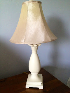 old white Annie Sloan chalk paint on lamp with shade