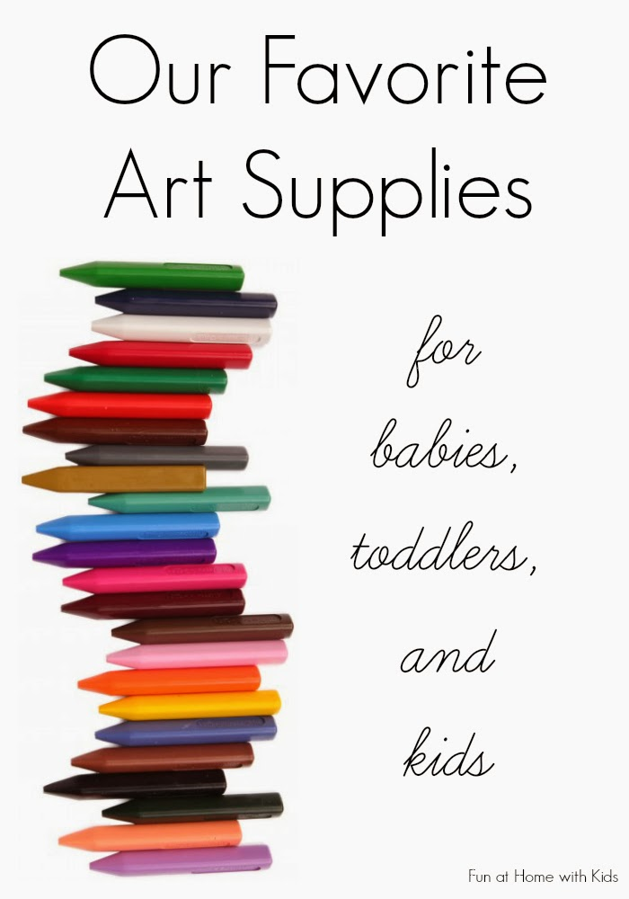 A list of the best art supplies by age.  Covers babies, toddlers, preschoolers and up.  From Fun at Home with Kids