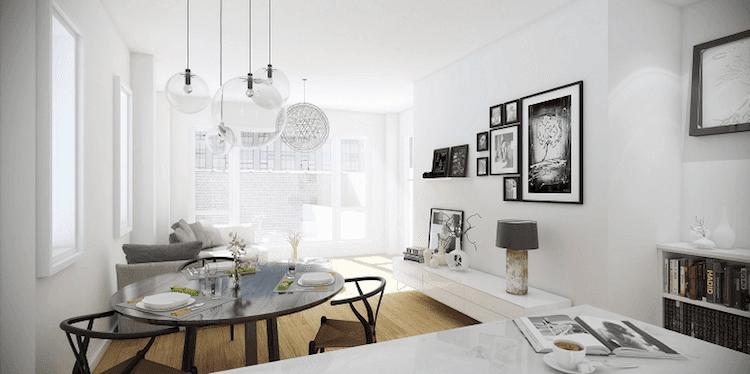 Salón con lámparas transparentes
