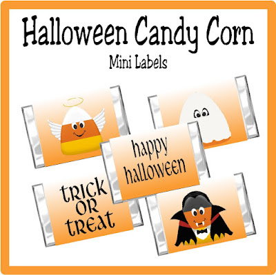 Get this free candy corn Halloween party set in your inbox today by joining our email newsletter during October 2016.  You'll love all the sweet treats you can wrap and decorate to make your Halloween party extra sweet with candy bar wrappes, kiss labels, cupcake wrappes, and more.