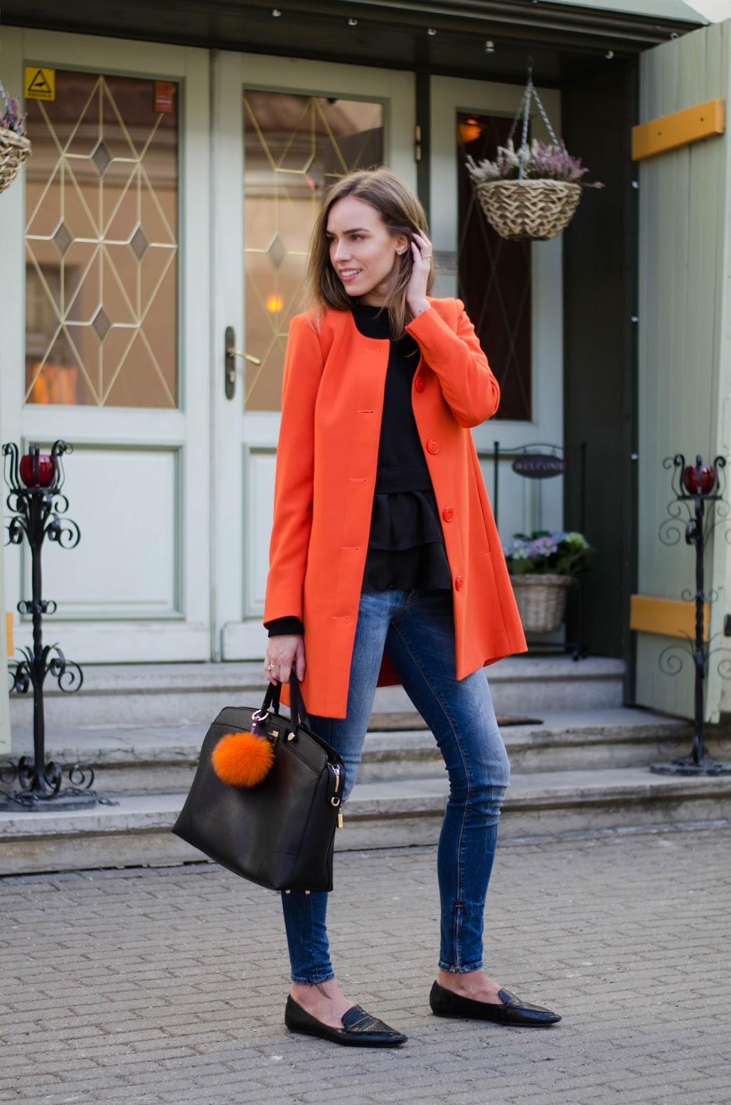 kristjaana mere spring outfit orange coat
