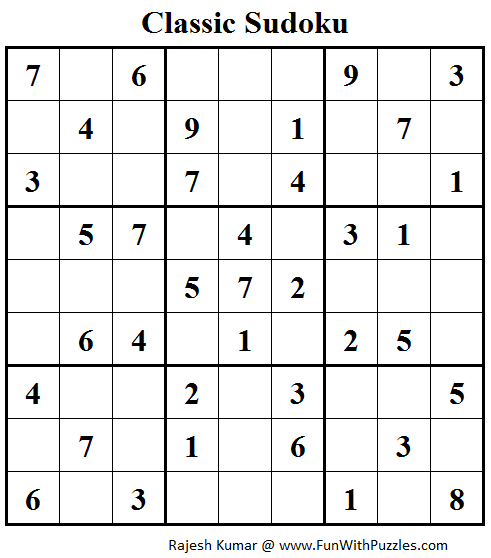 Classic Sudoku (Fun With Sudoku #87)