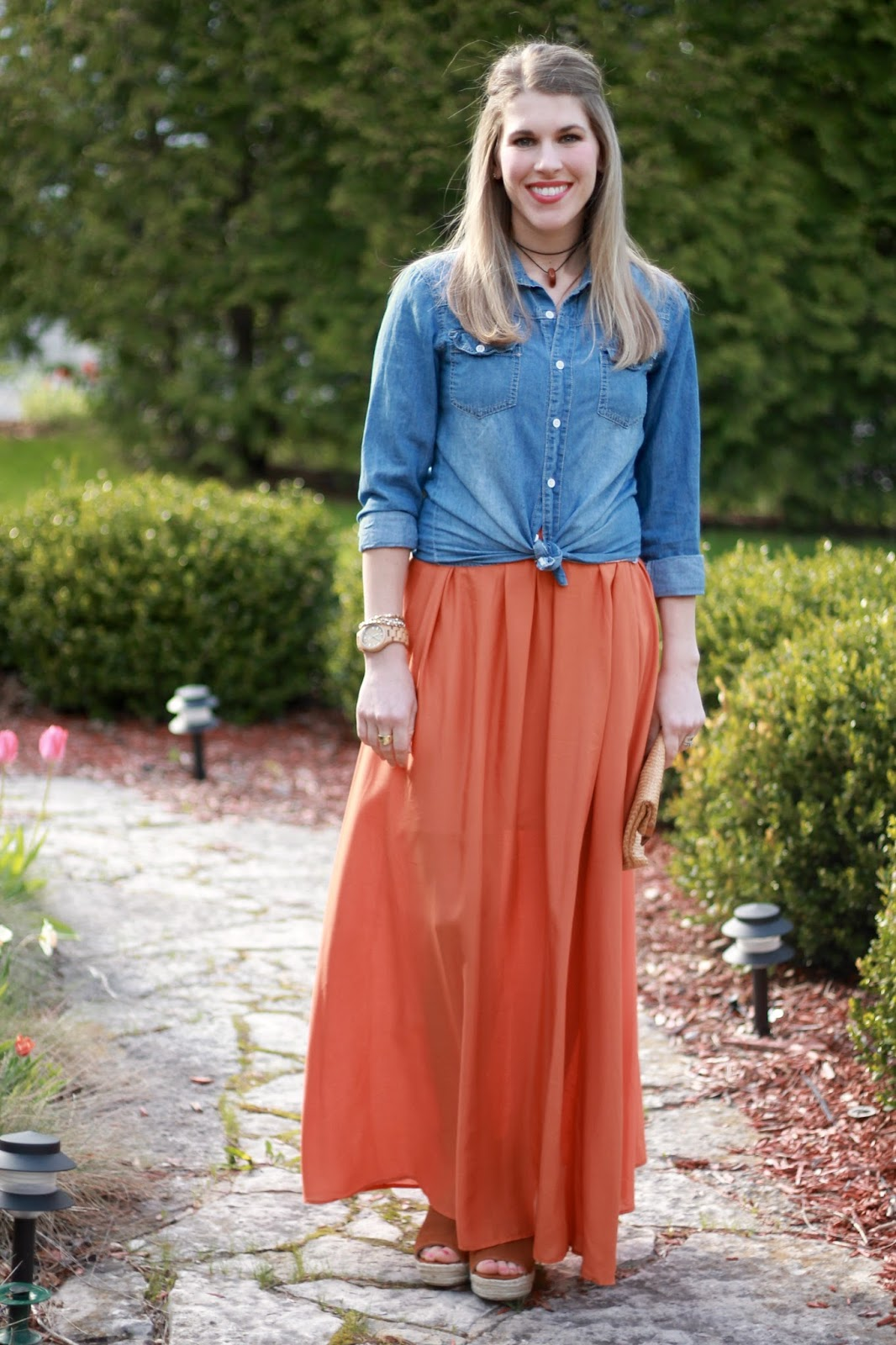 orange maxi skirt, chambray, Steve Madden wedge sandals, straw clutch, choker necklace, wood watch