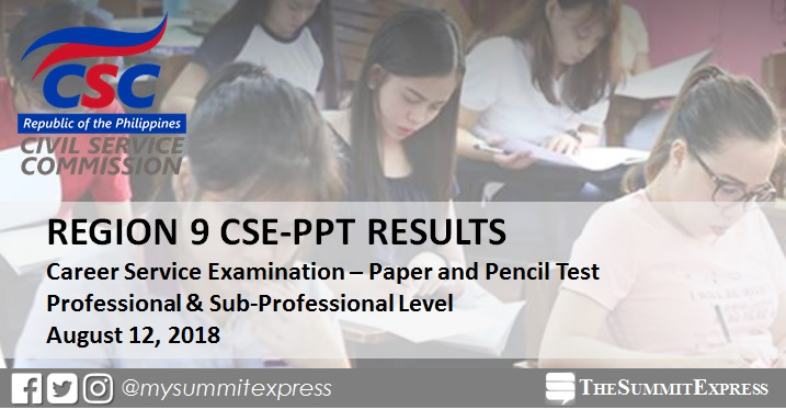 LIST OF PASSERS: August 2018 civil service exam CSE-PPT result Region 9