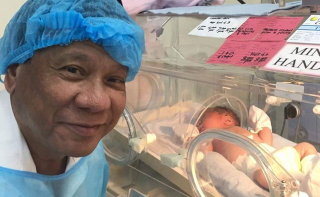 President Duterte Meets Sara Duterte's New Born Baby 'Stonefish'