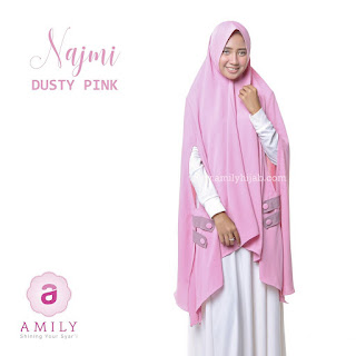 Hijab Amily Khimar Najmi Dusty Pink
