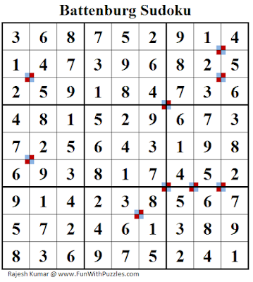 Battenburg Sudoku (Fun With Sudoku #236) Puzzle Answer