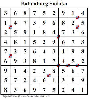 Battenburg Sudoku (Fun With Sudoku #236) Puzzle Answer