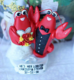 epic lobster wedding cake topper