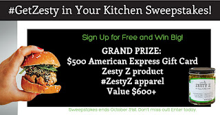 Enter the #GetZesty in Your Kitchen Sweepstakes. Ends 10/31