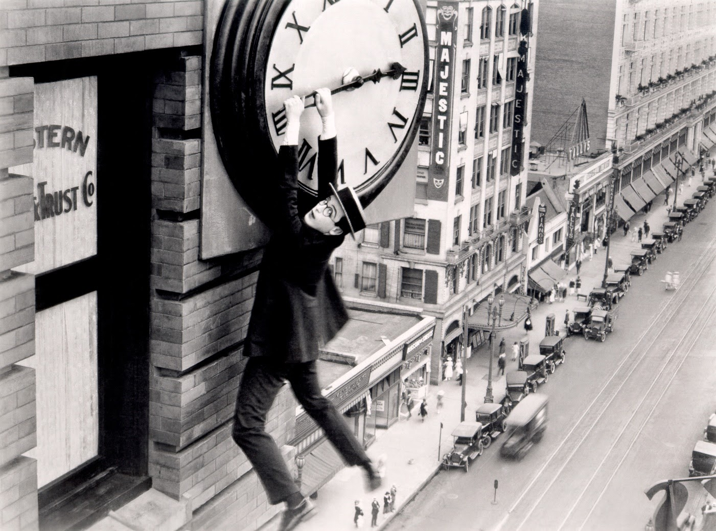 Harold Lloyd Safety Last hanging from clock
