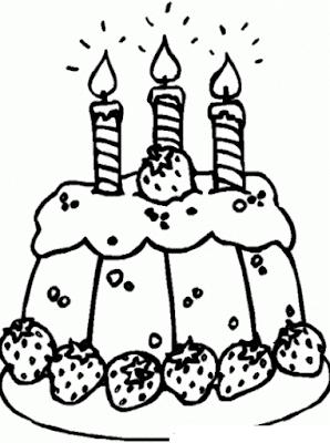 Gambar Mewarnai Kue Ulang Tahun - 3