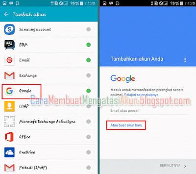 cara menambah akun google di android