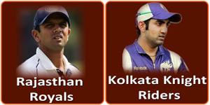 आइपीएल 6 का आठवां मैच राजस्थान रॉयल्स और कोलकाता नाइट राइडर्स के बीच होना है।
