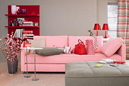 Salas en rosa y gris salas con estilo for Decoracion para pared rosa