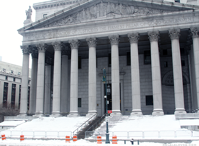 NYC Winter, New York County Supreme Court at 60 Centre Street, Blizzard of 2015