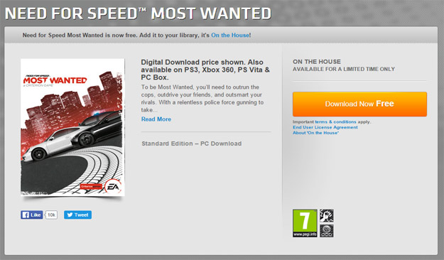Need for Speed Most Wanted for free