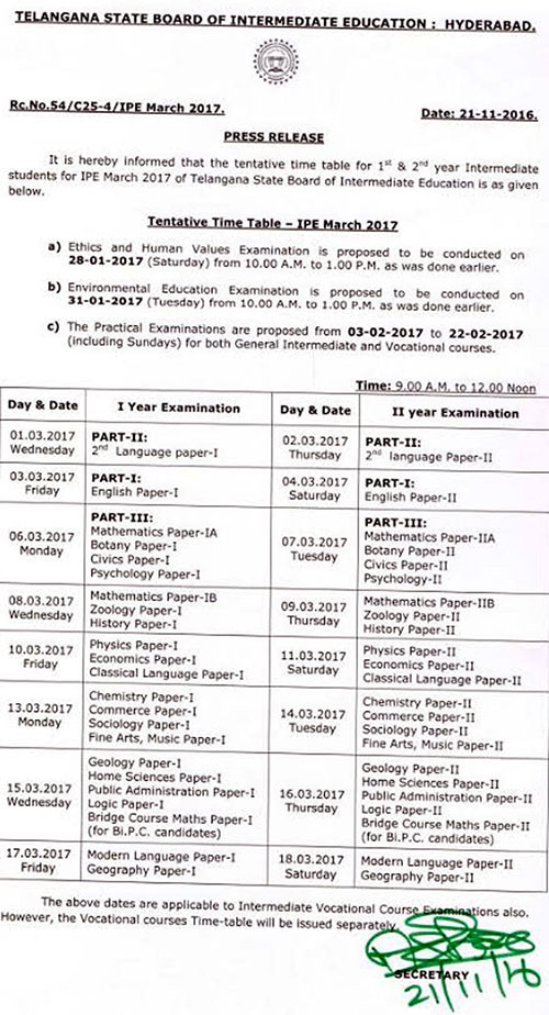 TS Inter BIE Annual Exams Time Table 2017
