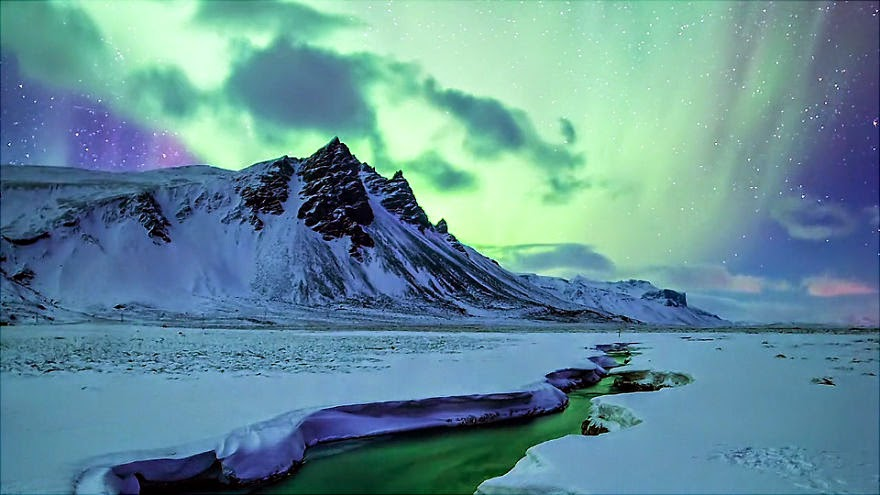 Epic Aurora Borealis Over Greenland And Iceland Snow