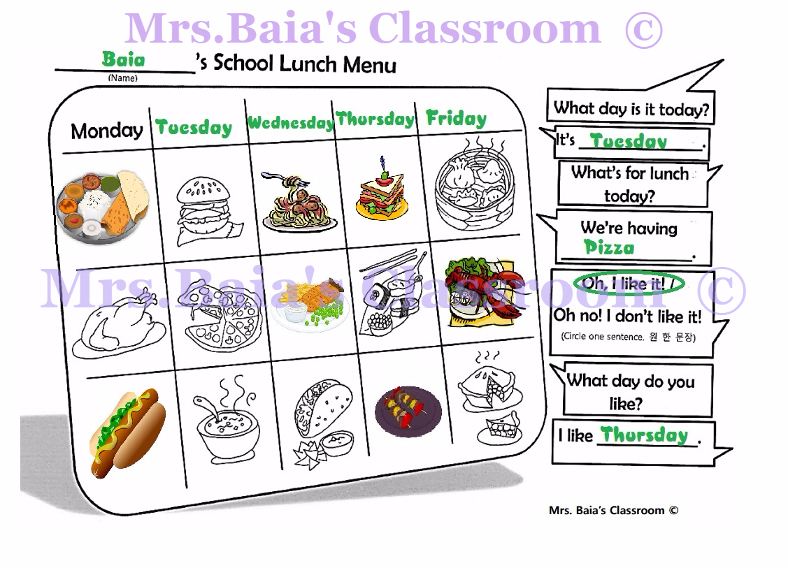 School Lunch Menu Worksheet For Esl Mrs Baia S Classroom