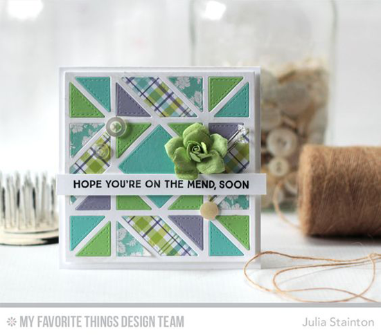 Handmade card from Julia Stainton featuring Let's Get Cozy stamp set and Diagonal Quilt Square Cover-Up Die-namics #mftstamps