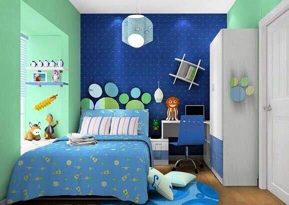 Kamar Tidur Anak Perempuan Minimalis Warna Biru