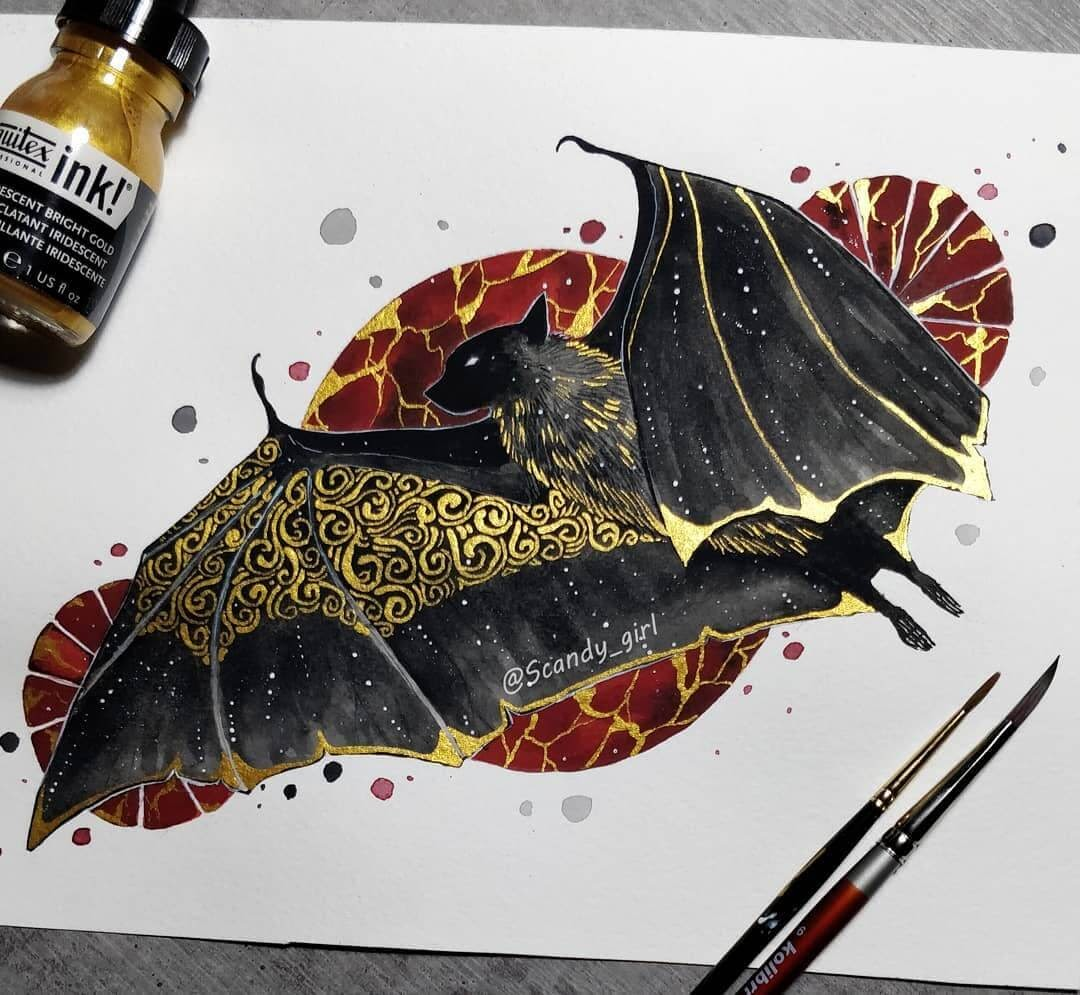 06-Bat-Jonna-Hyttinen-Animals-Mixture-of-Drawings-and-Paintings-www-designstack-co