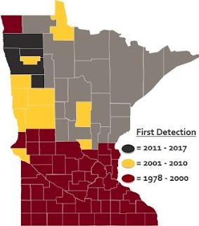 Minnesota map of soybean cyst nematode spread