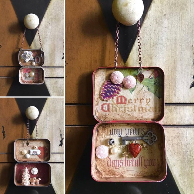 Hanging ornament assemblage art made from Altoids tins