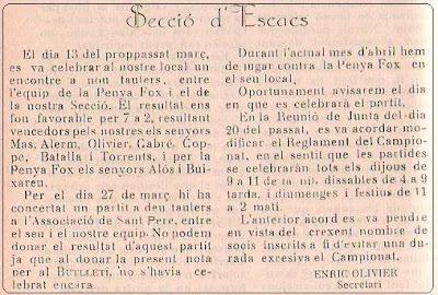 Boletín 117 del Casal Catòlic de Sant Andreu, abril de 1932