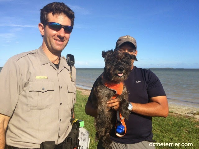 An Everglades National Park Ranger says hello to Oz the Terrier