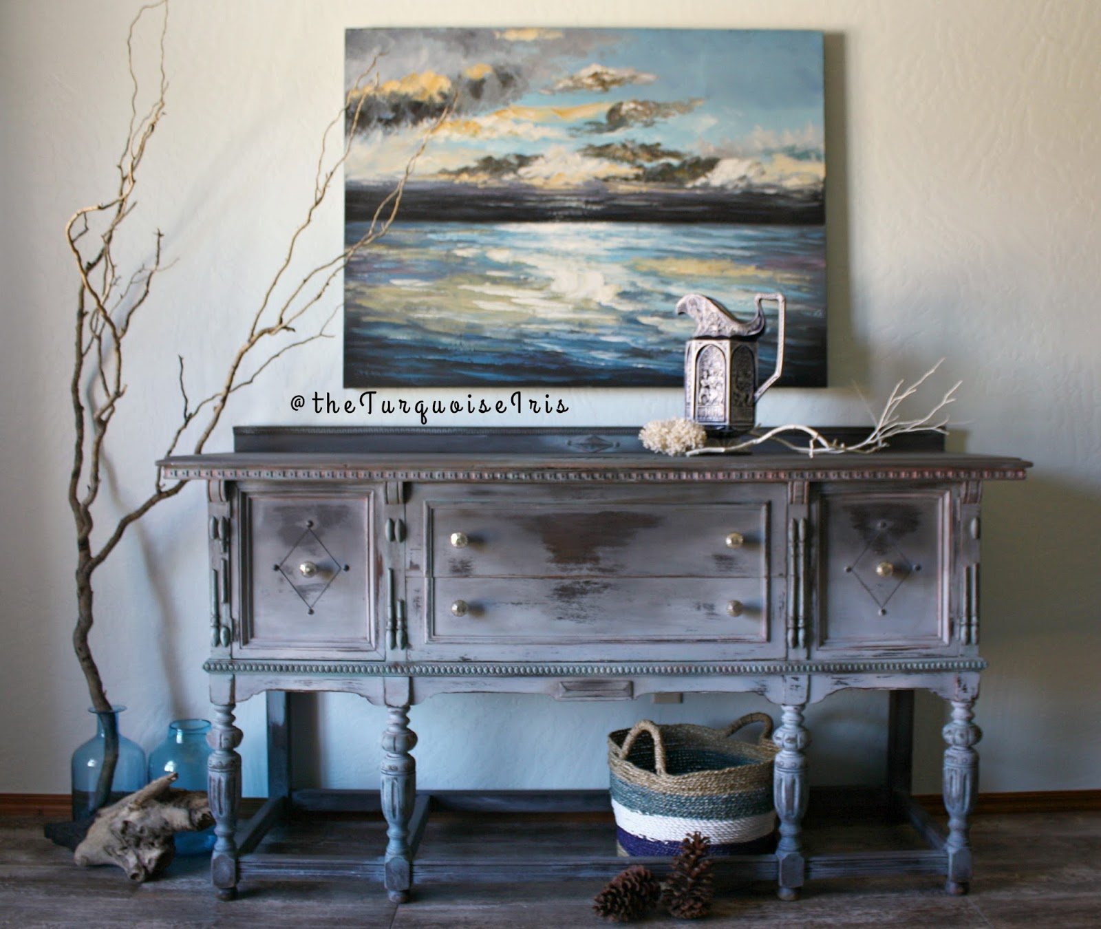 Hand painted shades of grey antique buffet in rustic a finish doors series